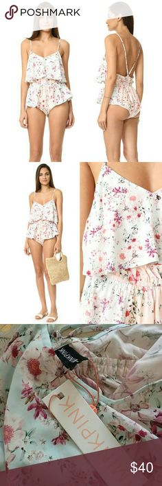 """NWT MINKPINK shorty floral playsuit Sun's out, buns out! Super cute and slightly daring romper out swim cover-up from Minkpink. Elastic waist and adjustable Cami straps. Laid flat, waistband measures 27"""", shoulder to hem is 21"""". Best for xtra small or small. MINKPINK Swim Coverups"""