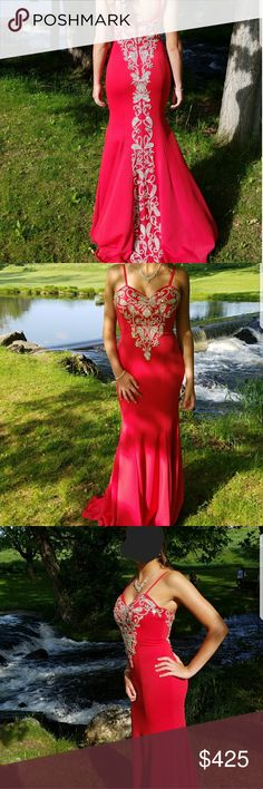 Jovani gown Red Jovani gown size 2 altered for someone 5'3 with 3.5 inch heels on. Beautiful super beading down back and on chest area Jovani Dresses Prom