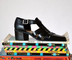 Womens 90s Minimalist Black Shoes Size 9 1/2 Open by Hookedonhoney  #vintageshoes #vintageblackshoes #vintage90sshoes 90s Minimalist Black Shoes Size 9 1/2