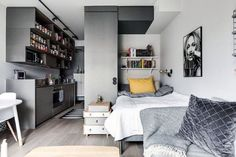 Top 60 Best Studio Apartment Ideas - Small Space Designs - Grey And White Studio Apartment Ideas With Hardwood Floors -
