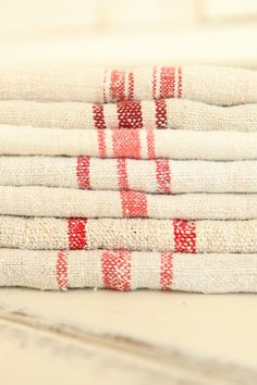 Red and Cream Vintage French Grain Sacks
