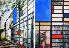 Paintings by Amy Park of modern homes & buildings in the LA, NY, and Chicago area.