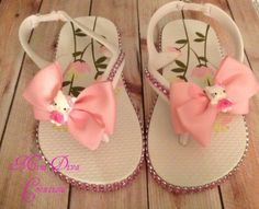 Toddler Hello Kitty inspired flip flops available on our FB page Mini Diva Creations.