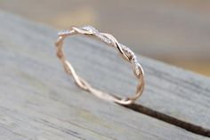 14k Rose Gold Diamond Rope Twined Vine Micro Pave Stackable Ring