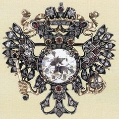 FABERGE JEWELRY ~ The Brooch ' The Imperial Eagle', gold, platen, diamonds, rubies. By The House of Faberge, Moscow Department, 1913