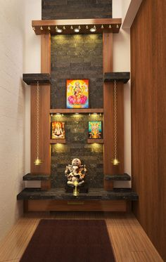 mind-calming-wooden-home-temple-designs unit With Mandir 50 Mind Calming Wooden Home Temple Designs Pooja Room Door Design, Home Room Design, Interior Design Kitchen, House Design, Bed Design, Temple Design For Home, Home Temple, Temple Room, Diy Home Decor For Teens