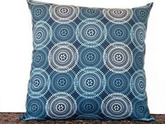 Circles Pillow Cover Navy Blue Natural Beige Retro Modern Decorative 18x18 United States