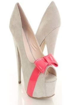 cream color heels with pink bow