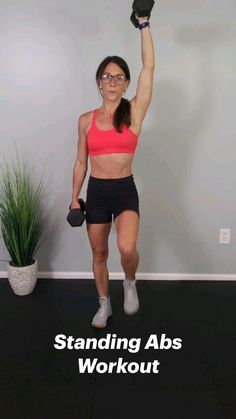 Flat Abs Workout, Slim Waist Workout, Gym Workout Videos, Gym Workout For Beginners, Fitness Workout For Women, Dumbbell Workout, Fun Workouts, At Home Workouts, Standing Abs