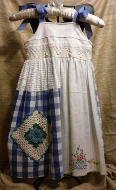 Patchwork w/Vintage Linen Blue and White Dress; wishing for Mojo to be 5 again!