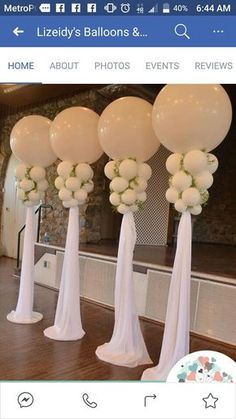 Gorgeous Jumbo Balloon columns with draping- we can use these at the head table . Gorgeous Jumbo Balloon columns with draping- we can use these at the head table and/or room entrance- AMBC Wedding Balloon Decorations, Wedding Balloons, Birthday Decorations, Wedding Centerpieces, Wedding Table, Balloon Table Centerpieces, Masquerade Centerpieces, Centerpiece Ideas, Table Decorations