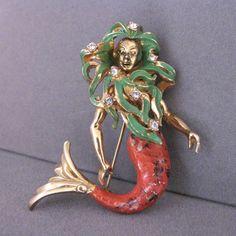 Vintage Hattie Carnegie Enamel and Rhinestone Mermaid Pin