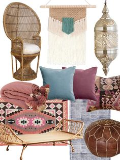 "Shop Hospitality Rattan Peacock Chair Buri - Natural, Crochet Woven Wall Hanging Textile, Moroccan Hanging Lamp Collection - Silver Finish, Vintage Turkish Kilim Pillow Cover, Rohini Printed Daybed Cushion, Kenza Moroccan Pouf, Brown, Pari Rattan Daybed, Plum & Bow Karakum Printed Rug, Pink purple and white wool POM POM BLANKET 59x90""Handmade Moroccan Wool Pom Pom Throw with Pink Purple and White Pom Pom Bed Spread, H&M Velvet Cushion Covers, H&M Velvet Cushion Covers and more"