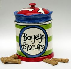 Custom Ceramic Treat Jar for dogs whimsical by artzfolk on Etsy, $80.00