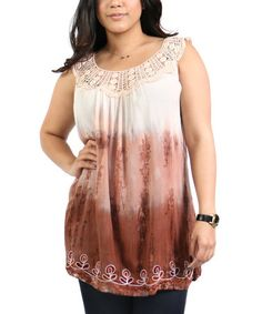 Look at this #zulilyfind! Brown Dip-Dye Crochet-Yoke Tunic - Plus #zulilyfinds