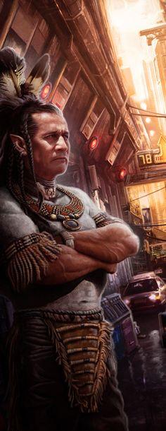 Male street shaman, by Víctor Manuel Leza; Cyberpunk Character, Cyberpunk Art, Diesel Punk, Shadowrun Rpg, Native American Beauty, Sci Fi Characters, Post Apocalypse, Retro Futurism, Fantasy Creatures