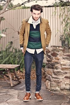 Benjamin Galbraith - brown ASOS jacket, Gant Rugger rugby shirt, Topman button down collar pinstripe shirt, cuffed dark blue St. Lenny jeans, ASOS brogues