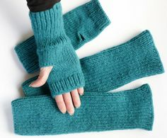 Turquoise Fingerless Gloves and Leggings-Soft Knitted Wool by:-Lauraa