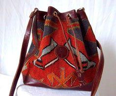 Vintage Burnt Orange Leather Turkish Kilim Drawstring Bag Purse