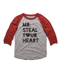 e1e235c2d American Classics   Gray & Red 'Mr. Steal Your Heart' Raglan Tee - Toddler  & Boys