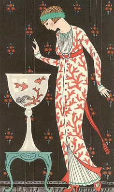 FRENCH FASHION, BARBIER, WOMAN, CORAL DESIGNS ON DRESS, ART DECO, MAGNET