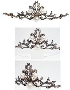 From the Victorian era, featuring 3 natural pearl set in a scroll design of rose cut diamond set ribbons. The diamonds are set in silver to an 18K yellow gold mount and frame with normal patina aging. The total diamond weight is approx. 2.50ct. The center pearl measures 8-9mm, the two side pearls are 5-6mm. Tiara measures approximately 11cm (4.38 inch) wide and 2.9cm (1.12 inch) from top to bottom. Weight: 24.3 grams.