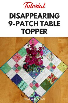 Tutorial and quilt pattern for a charming disappearing table topper simple enough for quilting beginners. Square Table Topper This pretty little quilt makes a great table topper or small wall quilt for any celebration. You can use fabrics that work with a Hand Quilting Patterns, Beginner Quilt Patterns, Patchwork Patterns, Quilting For Beginners, Quilting Tutorials, Quilting Ideas, Tatting Patterns, Table Topper Patterns, Quilted Table Toppers