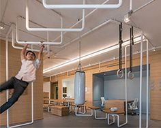 onion renovates inteltion office with spaces for exercising + socializing