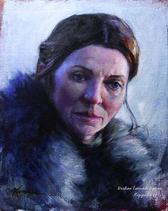 Game of Thrones Fan Art Lady Stark Original Oil by Krystyna81