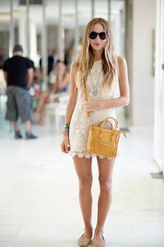 DJ/girl-about-town Harley Viera-Newton rocks a crochet minidress with a Celine bag (via VOGUE) Girls Summer Outfits, Summer Fashion Outfits, Spring Summer Fashion, Style Summer, Summer Clothes, Summer Chic, Summer Wear, Street Style, Street Chic