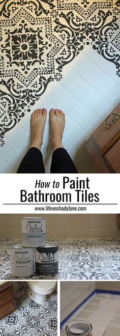 DIY: How to EASILY paint your tile floor for a budget friendly modern update! - Black and White Stenciled Bathroom Floor