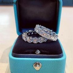 choucong Promise Ring Round Princess cut Zircon Stone 925 Sterling Silver Engagement Wedding Band Rings for women Jewelry Diamond Wedding Rings, Bridal Rings, Diamond Bands, Wedding Ring Bands, Mixed Metal Jewelry, Silver Jewelry, Diamond Jewelry, Silver Rings, Silver Necklaces