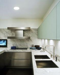 Laight Loft - modern - kitchen - new york - Incorporated Granite Kitchen, Stainless Steel Kitchen, Kitchen Backsplash, Kitchen Countertops, Kitchen Grey, Backsplash Ideas, Backsplash Design, Stone Backsplash, Kitchen Hoods