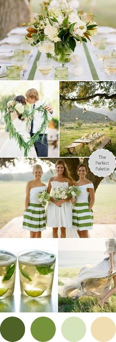 These are the colors I always pictured for my wedding! Green and ivory. But I would probably use mostly forest/moss green.