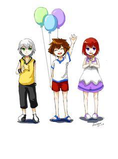 Riku, Sora, and Kairi as kids
