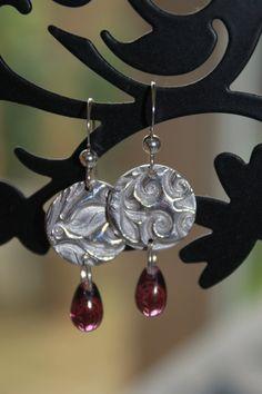 Silver clay earrings, handmade silver earrings, embossed silver, silver imprint, swirls, nature earrings, amethyst glass, glass drops, czech glass