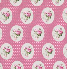 Pink Old Time Roses pwtw069pink Cotton Fabric by agardenofroses, $11.00