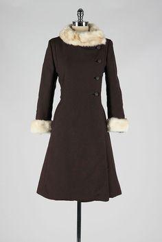 vintage 1960s coat . brown wool . mink trim . by millstreetvintage