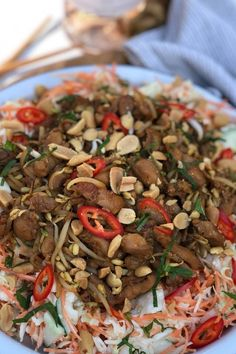 Japchae, Bbq, Lunch, Meat, Ethnic Recipes, Dressings, Foodies, Drinks, Indian
