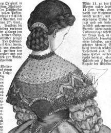 The side braids/rolls and low braided bun would be great details for this project 1865. Der Bazar: Illustrirte Damen-Zeitung