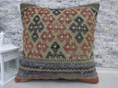 traditional decorative pillows kilim rug kilim pillow 16x16 kilim cushion asian pillow aztec pillow boho pillow throw pillow handmade pillow