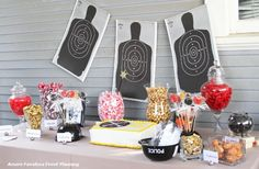 Inspiration Only: Police Retirement Candy Buffet Police Retirement Party, Police Wedding, Retirement Parties, Retirement Ideas, Retirement Party Centerpieces, Cop Party, Police Academy, Candy Buffet, Party Ideas