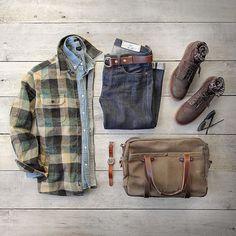 Current Sunday mood. Jacket: @fahertybrand Durango CPO–woven in Japan Bag: @vermilyeapelle Denim: @rogueterritory Slub SK Boots: @redwingheritage Belt: @toddsnyderny Shirt: @jcrew Watch: @miansai #fahertybrand #collaboration #flatlay