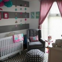 dark gray stripes don't look good. And think if other wall isn't going to be striped it needs to be gray not white!