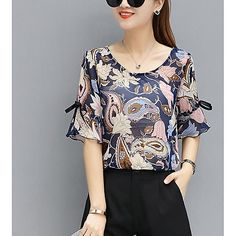 2018 fashion stripe chiffon blouse women shirt plus size summer women tops chiffon blouse shirt female clothing blusas 0158 40 - extremesports Cute Blouses, Cotton Blouses, Blouses For Women, Blouse Styles, Blouse Designs, Lady Rockers, Boho Bluse, Mode Plus, Blouse Online