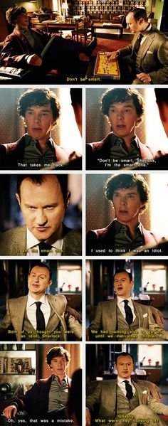 """'Don't be smart, Sherlock, I'm the smart one!'"" ""I am the smart one."" Actual five year olds Sherlock and Mycroft Holmes Sherlock Bbc, Sherlock Fandom, Watson Sherlock, Jim Moriarty, Sherlock Quotes, Sherlock Books, Funny Sherlock, Johnlock, Benedict Cumberbatch"