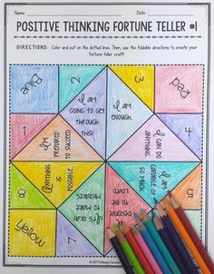 Positive Thinking Fortune Teller Craft by Pathway 2 Success Group Therapy Activities, Coping Skills Activities, Mental Health Activities, Self Esteem Activities, Activities For Adults, Counseling Activities, School Counseling, Senior Activities, Therapy Ideas