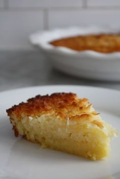 """Impossible Coconut Pie - Blue-Eyed Bakers - Blue Eyed Bakers  I believe this is actually called """"impossible"""" because you mix all the ingredients together and pour them not a pie pan. It separates into crust and filling as it bakes."""