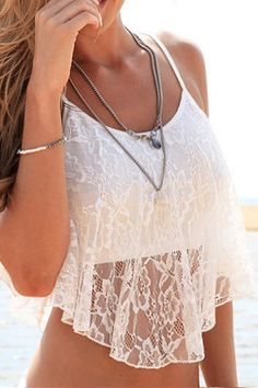 White Lace Spaghetti Strap Crop Top WHITE: Tank Tops | ZAFUL