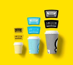 Coffee Here coffee cups packaging type typography colors grid labels graphic design Cool Packaging, Food Packaging Design, Coffee Packaging, Coffee Branding, Brand Packaging, Beverage Packaging, Brand Identity Design, Graphic Design Branding, Corporate Design